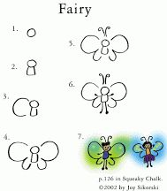 How to draw a fairy; lots of great, simple drawing help on this website.  Fun!