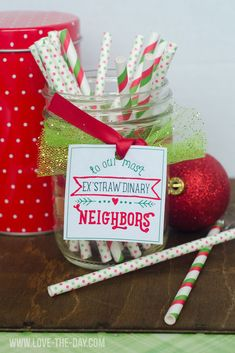 Neighbor Gift Ideas and free matching printables wrapped three different ways.
