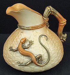 Antique Worcester Lizard & Basket Weave Pitcher