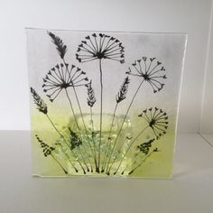 Floral Glass Plaque, Floral Candle Display, Fused Glass, Kilnformed Glass, Home Decor, Gift for her, Birthday Gift, Mothers Day Gift by WarmGlassFusion on Etsy