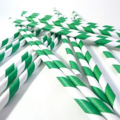 Emerald Green and White Paper Straws by mrssterlings on Etsy, $6.99