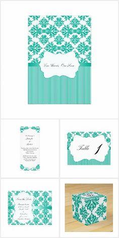Emerald Green and White Damask Wedding Invitation Set, Wedding Invitations, Bright White Background, Damask Wedding, White Damask, Wedding Suits, Emerald Green, Reception, Elegant