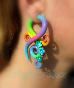 Fake ear tentacle gauges - Faux gauges/Gauge earrings/Tentacle plug/tentacle earrings /spiral gauge/ fake piercing by RybaColnce on Etsy