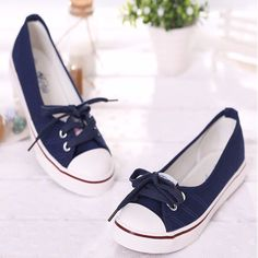 Casual Slip On Lace Up Women Flat Shoes
