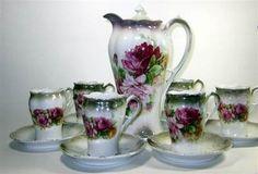 Old Chocolate Sets | Vintage Chocolate Pot, Cups & Saucers Set - Grayish Edges & Roses