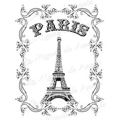 Tour Eiffel vintage romantic large image paris france europe transfer... ❤ liked on Polyvore featuring home and kitchen & dining