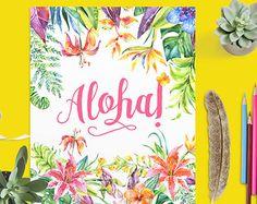 Aloha Printable Art Print, Tropical Flowers, Hawaiian Wall Art, Pink Tropical Nursery Print, Watercolor Floral Beach Home Decor, Surf Poster