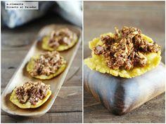 Tortos de maíz con revuelto de morcilla asturiana. Receta