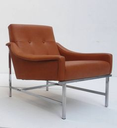 Pieter De Bruyne; Nickel-Plated Steel and Leather Lounge Chair for Arflex, 1960.