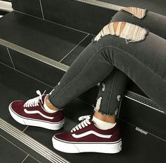 fa039ec13a Burgundy Vans - Hipster Vans - thought they were cute.