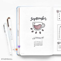 27 Coffee Bullet Journal Theme Inspirations & November Plan With Me - For all coffee lovers there 27 Bullet Journal layout ideas will inspire you to get planning right a - Bullet Journal School, Doodle Bullet Journal, Bullet Journal Agenda, February Bullet Journal, Bullet Journal Cover Ideas, Bullet Journal Writing, Bullet Journal Aesthetic, Bullet Journal Layout, Journal Art