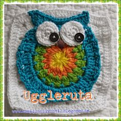 Camillas livsstil: Virkad uggleruta - mönster - Crochet owl square pattern Crochet Monsters, Crochet Owls, Crochet Afgans, Crochet Gifts, Crochet Baby, Free Crochet, Knit Crochet, Crochet Squares, Crochet Granny
