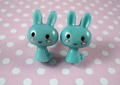 Süße Kawaii Hasen Ohrstecker Blau