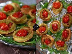 Kanapeczki z ciasta francuskiego z bazyliowym pesto i pomidorkiem Black Russian, Pesto, Sushi, Cheesecake, Muffin, Food Porn, Breakfast, Ethnic Recipes, Desserts