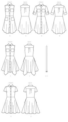 McCall's Misses' Shirtdresses with Pockets and Belt 7351