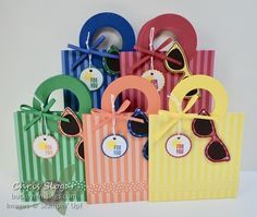 In Color Beach Bag gift card holders for a teacher or a summer event, Stampin' Up!