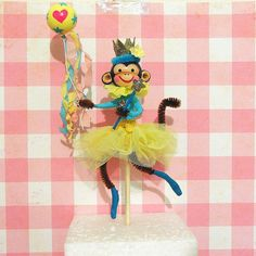 Blue/Yellow  Ballerina Monkey Cake Topper by marileejanedesigns.etsy.com