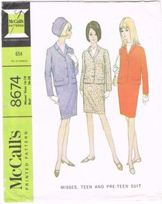 McCalls 8674 - Vintage 1960s Sewing Pattern - Misses, Teen And Pre-Teen Suit