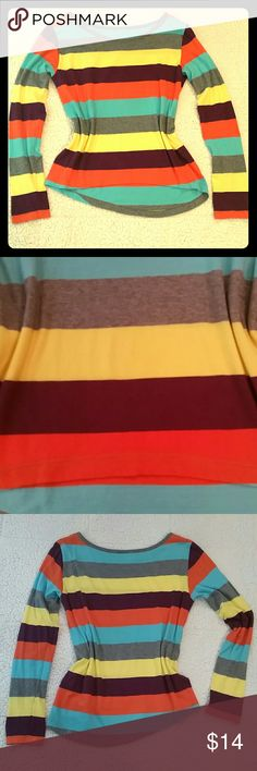 H&M High Low Long Sleeve Tee Vibrant, multicolored, striped, high low, long sleeved cotton tee by H&M is made of super soft, thin 100% cotton.  Worn once, no wear, see pic of elbow above.  No size tag, is a small. Thin enough for Summer, can be layered for colder weather, very versatile! H&M Tops
