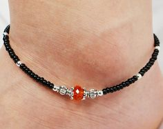 Anklet Ankle Bracelet Orange Beaded Crystal by ABeadApartJewelry Beaded Jewelry, Beaded Necklace, Beaded Bracelets, Leather Necklace, Anklet Designs, Ankle Jewelry, Beach Anklets, Anklet Bracelet, Metal Beads