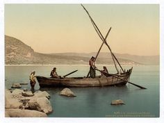 Photograph of Fishermen on boat on the lake. This color photochrome print was created between 1890 and 1900 in Israel.The photo illustrates Fishermans boat on the lake, Tiberias, Holy Land, i. First Color Photograph, Heiliges Land, Arte Judaica, Naher Osten, Sea Of Galilee, Holy Land, Zurich, Fishing Boats, Places
