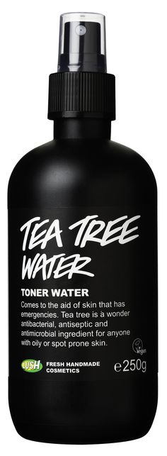 Lush Handmade Tea Tree Toner Water. This is my favourite toner - it's the most refreshing! :) Tea tree is extremely soothing and can work wonders on troubled or oily skin. It also has juniper berry and grapefruit waters to refresh and gently tone with natural oils. Use this throughout the day to help tackle blemishes and lift your spirits. Price: R85 for 100ml bottle and R145 for 250ml bottle