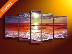 Natural sea oil painting 5 piece canvas art for bedroom decoration wall pictures for home unique gift for friends