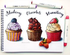 super ideas for cupcakes drawing marker Cupcake Illustration, Illustration Sketches, Food Illustrations, Copic Drawings, Cute Drawings, Art Starbucks, Kristina Webb Drawings, Cupcake Drawing, Food Sketch