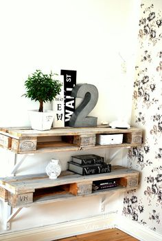 Pallet transformed into shelving #upcycle #pallets