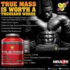 BSN True Mass Product Ads, Daily Vitamins, Vitamins And Minerals, Milkshake, Healthy Recipes, Pure Products, Words, Shake, Milkshakes