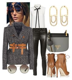 """Untitled #1247"" by srlangley ❤ liked on Polyvore featuring J Brand, Eddie Borgo, Prada, Tom Ford, Frame Denim and Jimmy Choo"
