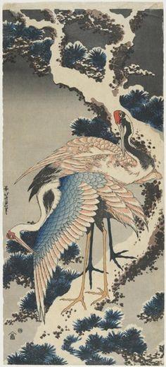 Cranes on Pine  ARTIST:Hokusai Katsushika   Jihe_ Moriya  DATE:c. 1834    Minneapolis Institute of Arts