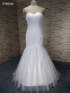 3ed90bb6b6b7 Levná cena ! Dobrá kvalita ! Doprava zdarma ! 2015 Nový příchod Mermaid  Sweetheart Bílé   slonovinové svatební šaty FS1136