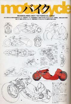 AKIRA Merchandise from the manga and anime- Animation Archives sample page 3 of Kaneda's Power Bike Character Design References, 3d Character, Animation Movie, Cyberpunk, Kaneda Bike, Katsuhiro Otomo, Mekka, Bd Comics, Motorcycle Design