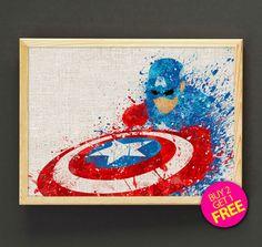Captain America Superhero Watercolor Art Print Avengers by Star2Go