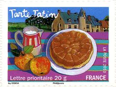 Stamp: Upside-down apple tart (France) (Local French Dishes) Yt:FR 4809 French Dishes, Food Stamps, Art Graphique, Stamp Collecting, Postage Stamps, Food Art, Ephemera, Apple, Illustration