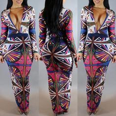 Women's Fashion Sexy Print Dress Long Sleeve Deep V Neck Casual Bodycon Culottes Party Dress
