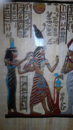 Papyrus as made by the Ancient Egyptians Hand-painted depicting a scene from Ancient Egyptian culture disclosing some of its mystery  http://history-direct.com/