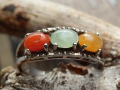 VINTAGE NATURAL Red, Green and Orange Jade Avon Ring, size 8.25 - 925 Sterling Silver by LovePureLife on Etsy