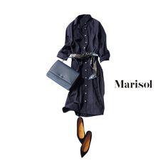 真面目なネイビーワンピをリッチに格上げするにはスカーフ使いが鍵!Marisol ONLINE|女っぷり上々!40代をもっとキレイに。