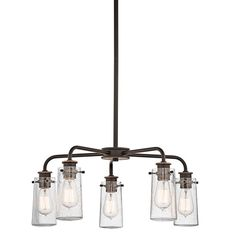 Add country flair with this cottage-style chandelier and carbon filament replica light bulbs.