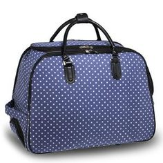 410d93e4d1fca Blue   White Travel Holdall Trolley Luggage With Wheels - CABIN ...