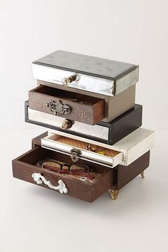 they sell this for 298.00!!  Make it with cigar boxes!  Topsy-Turvy Jewelry Box - anthropologie.com