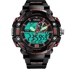Red Big Face Kids Boys Analog Digital Watch -- You can find out more details at the link of the image. (Note:Amazon affiliate link)