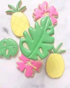 Hawaiian Cookies, Luau Cookies, Pineapple Cookies, Summer Cookies, Fancy Cookies, Flower Cookies, Iced Cookies, Birthday Cookies, Owl Cookies