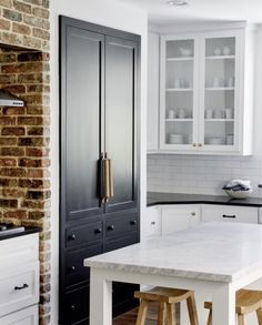 Interesting to have the black doors with the white cabinets/trim. Kitchen Inspirations, Black Fridges, Home Decor Inspiration, Beautiful Kitchens, Home Kitchens, Kitchen Design, Kitchen Remodel, Kitchen Renovation, Home Decor