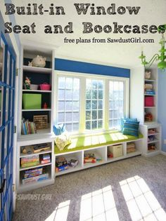 Built-in Window Seat and Bookcases - free and easy plans