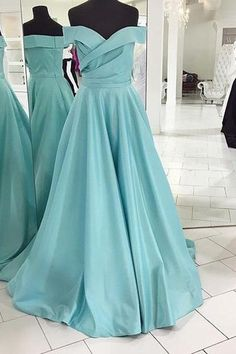 Blue Off-the-Shoulder Sweep Train A-line Satin Prom Dresses 2017