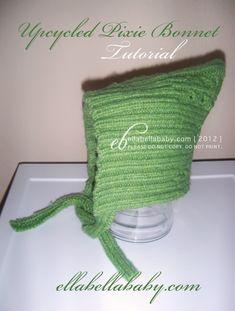 OMG! Way easy diy for making a crocheted newborn bonnet. No sewing, no crocheting!