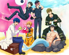 Free! ES ~~ Ending animation inspired glory! LOVE IT! :: Sosuke, Rin, Rei, Nagisa, Haruka, and Makoto